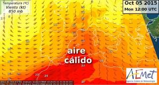 Mapa de situación de las 12 de este mediodía. FUENTE.-AEMET Balears