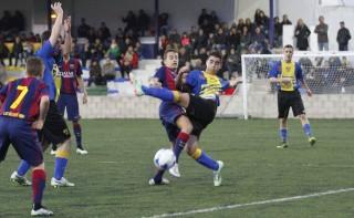 Barça y UD Mahón en uno de los partidos de la última MECUP. Foto: MECUP.