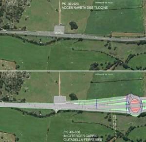 Proyección de la solución diseñada en Ciutadella en las proximidades de la Naveta des Tudons.