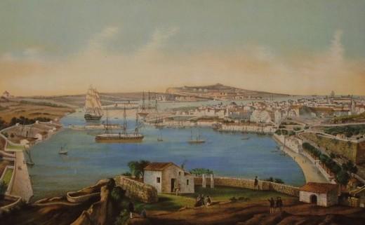 Imagen de un cuadro del puerto de Maó utilizado por la asociación Fra Roger en alguno de los artículos de Alfons Méndez sobre el gin de Menorca.