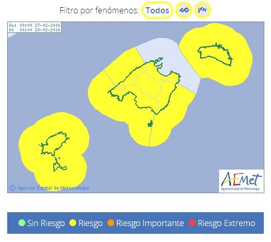 La alerta amarilla afecta a toda la isla