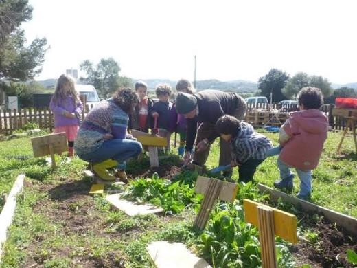 Niños y mayores, en el huerto (Fotos: Escola Tramuntana)