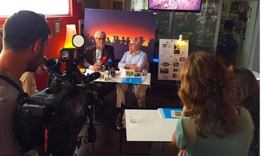 Momento de la presentación del disco 'Vent de tardor' en mayo de 2015, en Palma con Joan Pons y Guillem Frontera. Foto: Produccions Blau.