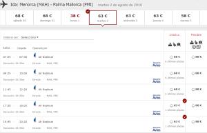 La web de Iberia ya no ofrece los vuelos a las 21.05 horas.