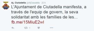 El Ajuntament de Ciutadella también se pronunció