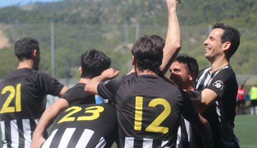 Celebración de uno de los goles en el partido de ida ante el Gènova (futbolbalear.es)