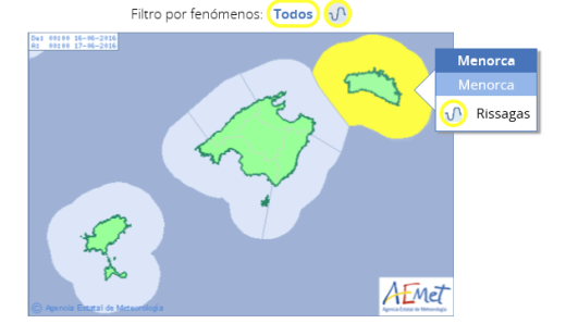 Mapa de predicción de Aemet.