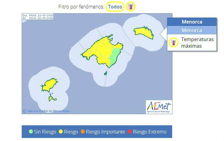Mapa de alertas de Aemet.