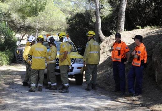Operarios actuando durante un incendio en Es Grau.