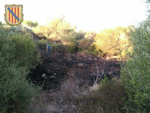 Así quedó la zona quemada.