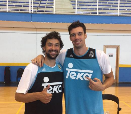 Llull y Alex Suárez, tras un entrenamiento.