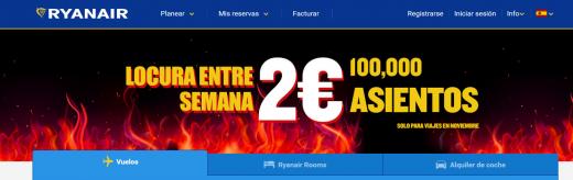 Anuncio que aparecía en la cabecera de la página web de Ryanair.