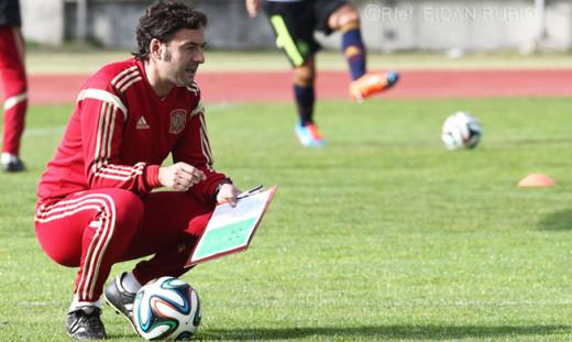 Santi Denia, durante un entrenamiento.