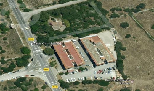 Imagen en Google Maps de la situación geográfica del centro penitenciario de Menorca.