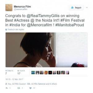 Tweet enviado desde la cuenta del film felicitando a la actriz por el premio.
