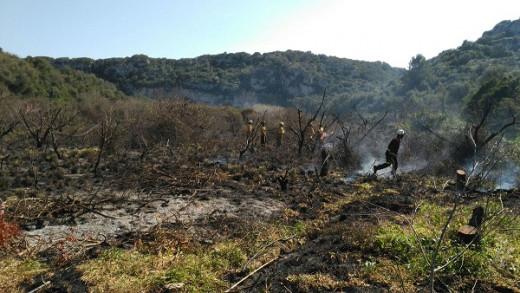 Los bomberos, en las labores de extinción (Foto: Ibanat)