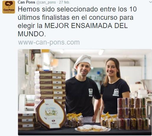 Publicación en Twitter en la que Ca'n Pons anuncia la cita.