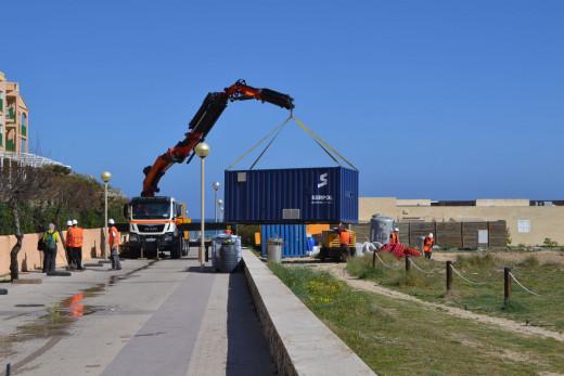 Inicio de las obras en la playa de Cala Mesquida (Fotos: Govern balear)