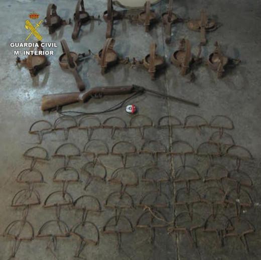 Imagen de los cepos ilegales incautados (Foto: Guardia Civil)
