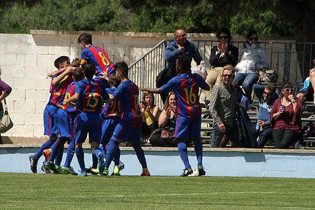 Alegría tras el gol del Barça.