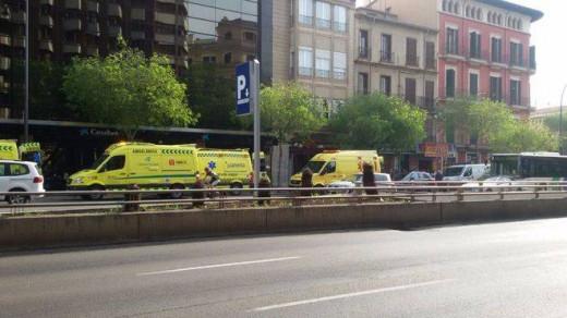 Imagen del accidente en el centro de Palma.