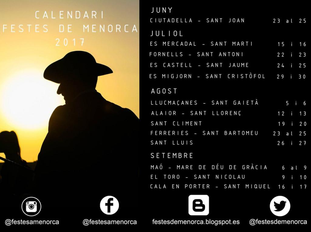 Calendario de fiestas elaborado por festesdemenorca.blogspot.com