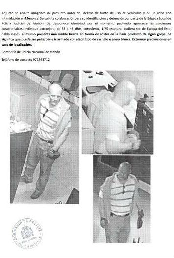 Fotografías del sospechoso difundidas por la Policía
