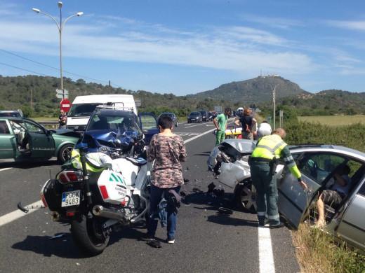 Una colisión múltiple deja cinco heridos en Alaior