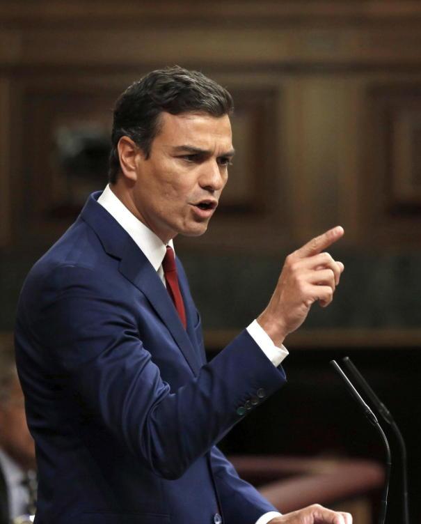 Pedro Sánchez, durante un discurso.