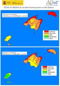 AEMET advierte del peligro existente por el fuerte calor y la tramuntana.