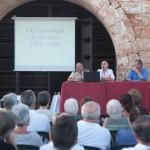 Los ponentes explicaron por medio de un audiovisual el linaje Sans y como llegó a Fornells. (Fotos: KARLOS HURTADO)