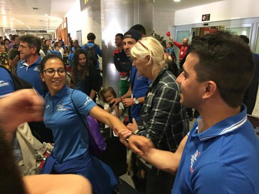 Imagen de la llegada de los deportistas.