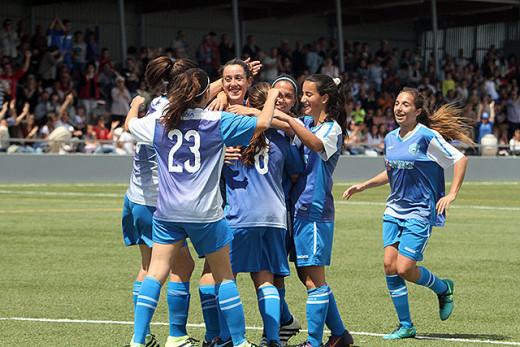 Celebración de un gol del Sporting.