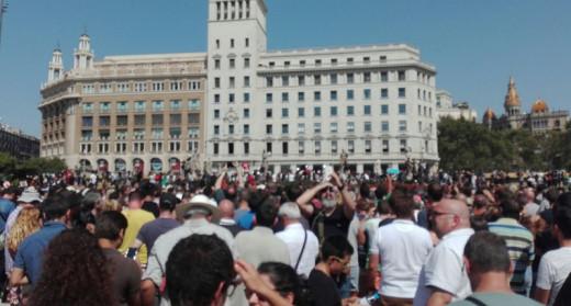 Imagen de la concentración en Plaza Catalunya este viernes