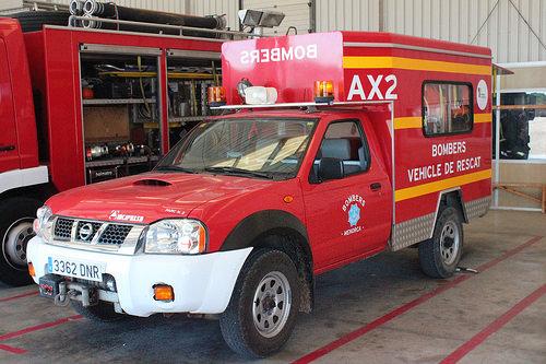 Vehículos de los bomberos de Ciutadella.
