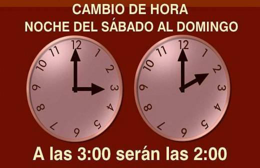 El reloj se atrasará una hora.
