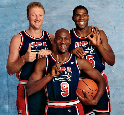Larry Bird, Magic Johnson y Michael Jordan.