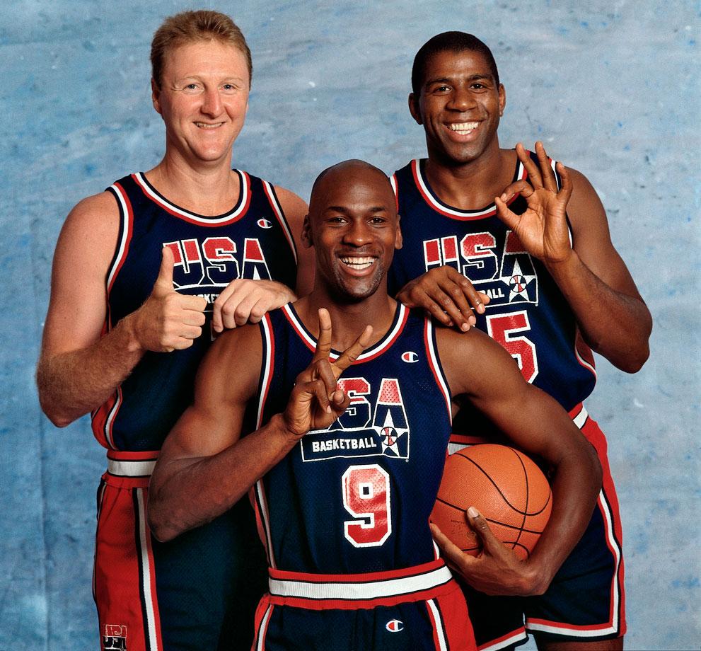 Larry Bird, Magic Johnson y Michael Jordan.