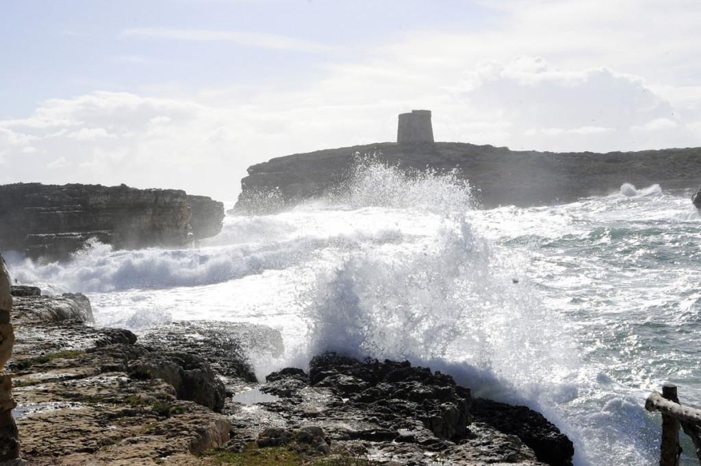 Imagen del temporal en Alcaufar (Foto: Tolo Mercadal)
