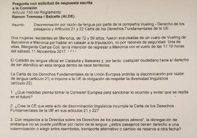 Copia de la pregunta que el eurodiputado Ramon Tremosa presentó este martes en Bruselas.