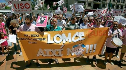Imagen de archivo de las manifestaciones tras el ERE ende docentes de religión.