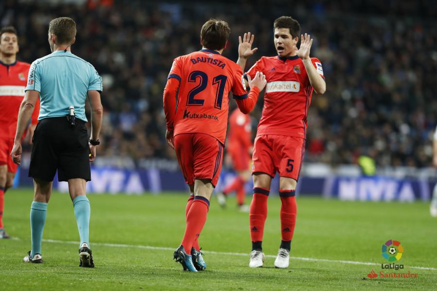 Bautista celebra el gol en el Bernabéu (Foto: laliga.es)