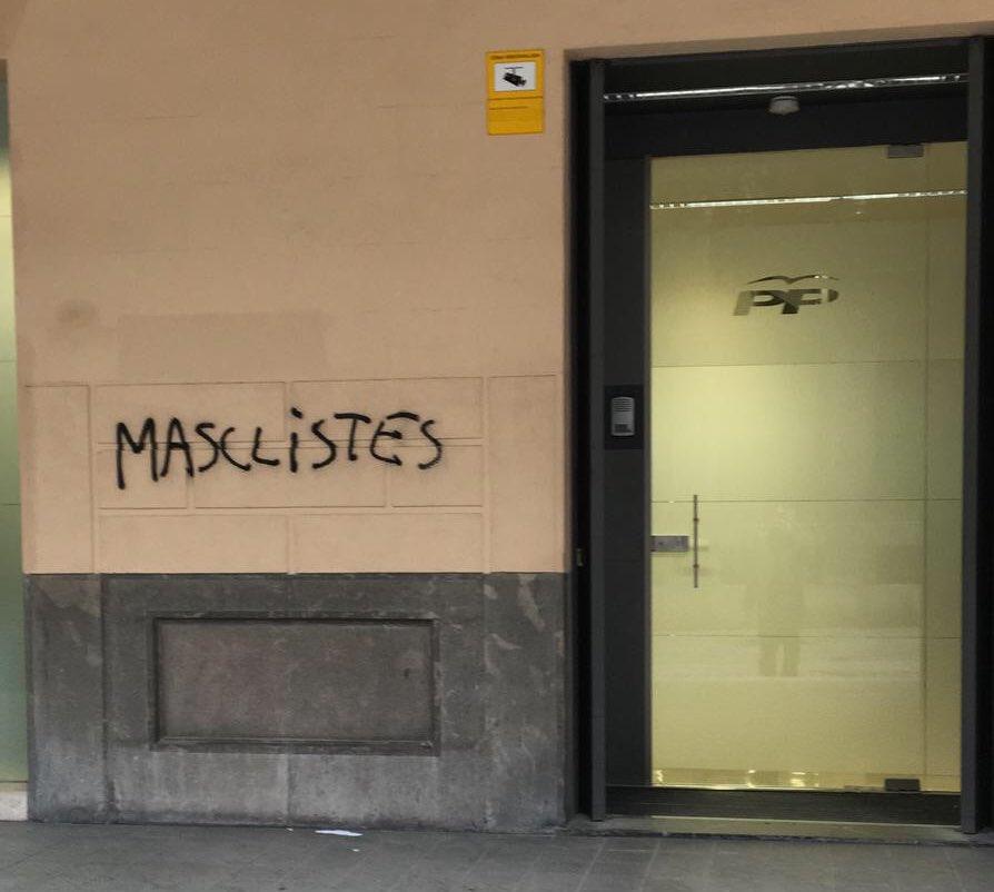 Pintadas en la sede del PP de Balears.