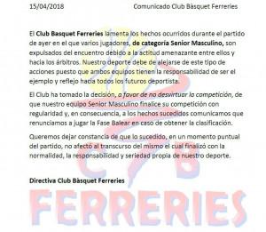 Comunicado del CB Ferreries.