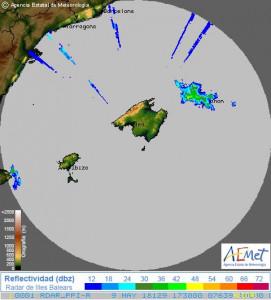 Mapa de tormentas sobre la Isla.