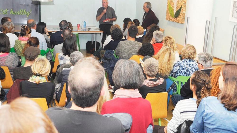 Pàmies, en un momento de la charla (Fotos: Tolo Mercadal)