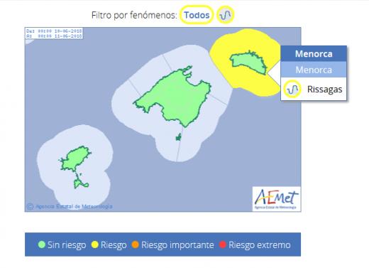 Mapa de riesgo de Aemet.
