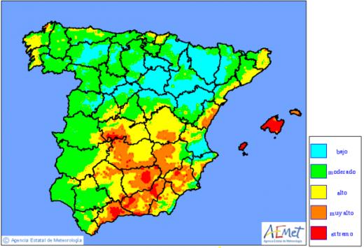 Mapa de niveles por riesgo de incendios forestales (Península y Baleares). AEMET.