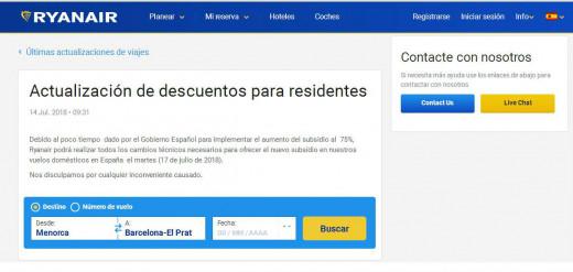 Captura de pantalla de la web de Ryanair.