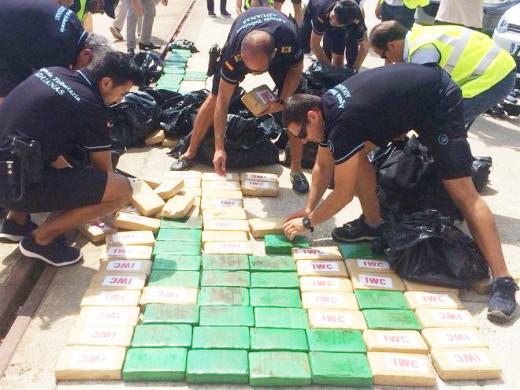Alijo de 300 kilogramos de cocaína decomisada.